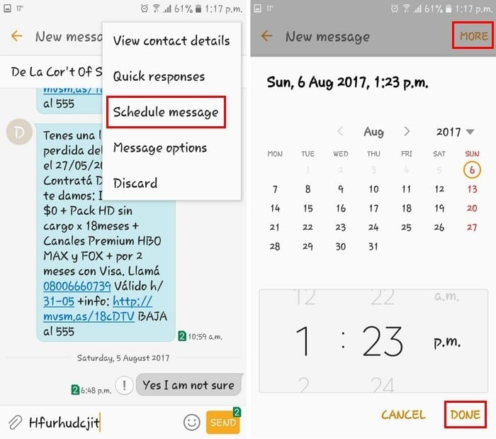 schedule text message Android